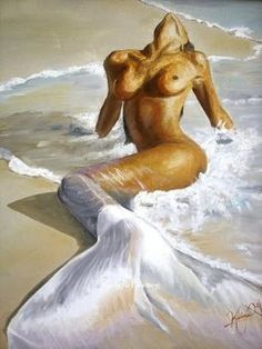 100% handpainted discount mermaid oil paintings wall art canvas high quality home decor unique gift