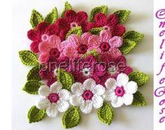 Uncinetto fiori 12 pezzi con 12 foglie... Pinky