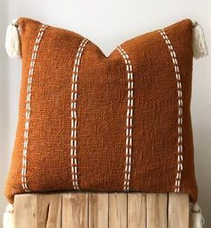 Burnt Orange Pillow with Tassels. Hand-dyed rust colour with stitch finish. Boho Cushions, Diy Pillows, Decorative Pillows, Throw Pillows, Diy Cushion Covers, Cushion Cover Designs, Cushion Pillow, Orange Pillows, Orange Pillow Covers