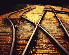 Railroad Tracks Photograph - Sunset - Home Decor - Abstract - Industrial - Landscape - Wall Art - Warm - Decorating