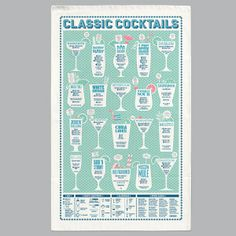 Classic Cocktails Tea Towel | The Red Door Gallery - Affordable Art and Design, Editioned Prints and Unique Gifts