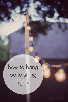 String lights for your patio, brighten it up as the sun starts to set. A cuter look than a large spotlight on the side of the house. How to Hang Patio String Lights Backyard Projects, Outdoor Projects, Backyard Patio, Patio Decks, Patio Table, Diy Patio, Patio Roof, Backyard Ideas, Outdoor Entertaining