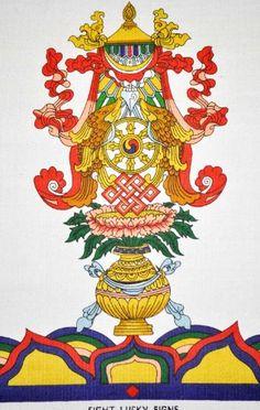 The Eight Auspicious Symbols Tibetan Tattoo, Tibetan Art, Tibetan Buddhism, Buddhist Art, Nepal Art, Vajrayana Buddhism, Chakra Symbols, Buddhists, Symbol Tattoos