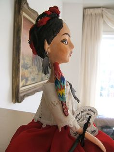 Frida Kahlo Hand made Art Dolls Paper Mache by BarbaraCharacters
