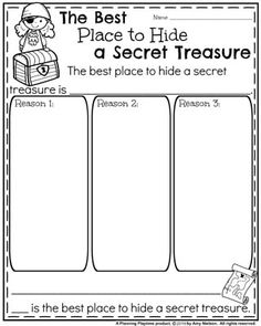 Back to School Opinion Writing Prompts - The Best Place to Hide a Secret Treasure. 1st Grade Writing Prompts, Opinion Writing Prompts, Third Grade Writing, Journal Writing Prompts, Writing Prompts For Kids, Persuasive Writing, Cool Writing, Writing Activities, Science Writing