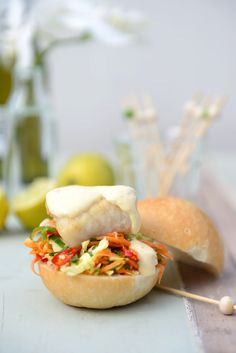 Thai Fish Sliders with Coconut Lime Mayo and Spicy Carrot Slaw