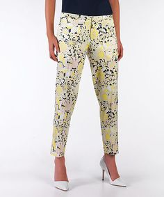 Take a look at this Floral Slim Pants by MOON on #zulily today!