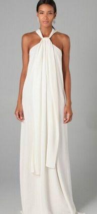 Vestido largo blanco con cuello halter de kaleidoskopic