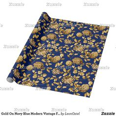 Gold On Navy Blue Modern Vintage Floral Toile Wrapping Paper Gift Wrapping Paper, Custom Wrapping Paper, Christmas Holidays, Christmas Cards, Paper Artwork, Gold Flowers, Elephant Gifts, Vintage Floral, Holiday Gifts