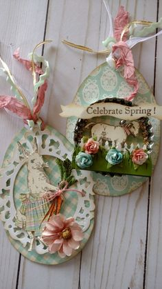 Easter egg tags created by Brenda Enright using Character Constructions Doll Stamps by Catherine Moore. The Blue Daisy Collection and The Bird and Bee Paperie Collection.