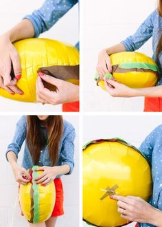 How fun! #Hamburger balloons in just a few easy steps.