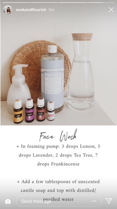 DIY Skin Care Tips : Face wash w/ Castile soap Essential Oils For Face, Doterra Essential Oils, Young Living Essential Oils, Essential Oil Blends, Essential Oil Spray, Laundry Essential Oils, Thieves Essential Oil, Perfume Good Girl, Sustainable Living