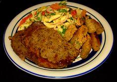 Pan Seared Rib Eye Steak #Seared #Rib Eye  #Steak #Fried Okra #Pasta Salad #Food #Food Photography