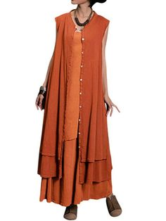 Gracila Vintage Fake Two Pieces Button Sleeveless Maxi Dress For Women Shopping Online - NewChic Mobile.