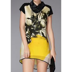 Floral Print Organza Splicing Stylish Turn-Down Collar Short Sleeve Women's Dress, YELLOW, XL in Dresses 2014 | DressLily.com