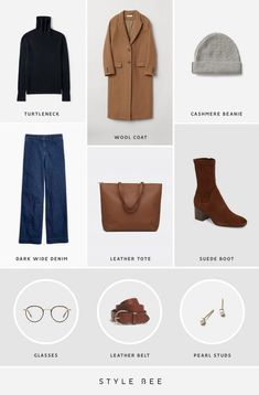 Style Bee - A Dozen Easy Outfits For Early Spring or Autumn Minimalist Wardrobe, Minimalist Fashion, Simple Outfits, Casual Outfits, Autumn Winter Fashion, Spring Fashion, Capsule Wardrobe Mom, Blundstone Boots, Wide Leg Denim