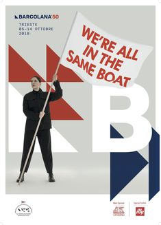 Marina Abramović designed this poster with Illycaffè creative director Carlo Bach for the Barcolana regatta. Image courtesy of Barcolana/art director Matteo Bartoli. Art Director, Creative Director, Boat Marina, Passion Pictures, Marina Abramovic, Texture Drawing, Display Ads, Body Drawing, Anime People