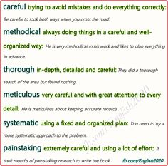 Synonyms - Careful Esl Learning, Learning English, English Class, Confusing Words, Prepositional Phrases, Professional Writing, Adverbs, Writing Lessons, Idioms