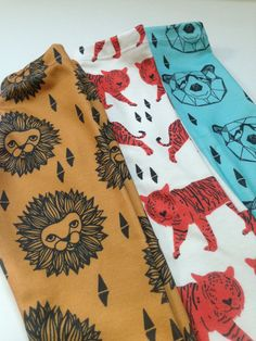 Lion Head organic cotton leggings modern leggings by SweetKiddoCo