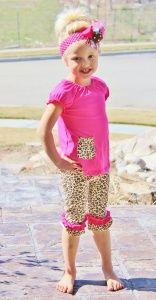 Little Hot Pink Cheetah Capri Shirt Set