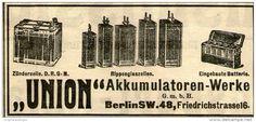 Original-Werbung/ Anzeige 1910 - UNION - AKKUMULATOREN - WERKE / BERLIN - ca. 90 x 40 mm