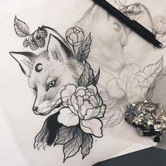 The Magic Society)(hier: The Magic Society) Tribal Tattoo Designs, Fox Tattoo Design, Sketch Tattoo Design, Tattoo Sketches, Drawing Sketches, Tattoo Drawings, Pretty Tattoos, Unique Tattoos, Beautiful Tattoos