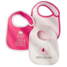 JUST ONE YOU Made by Carters Newborn Girls 3 Pack Bib Set - PinkWhite