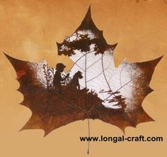 """""""Natural leaf carving is actual manual cutting and removal of a leaf's surface to produce an art work on a leaf. The process of carving is performed by artists using tools to carefully remove the surface without cutting or removing the veins. The veins add detail into the subject matter of the carving."""""""