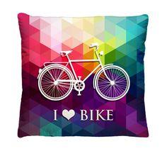 Capa de Almofada Bicicleta Retrô.