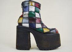 90s RARE Grunge Hippie Buffalo Rainbow Patchwork by MICROMALL