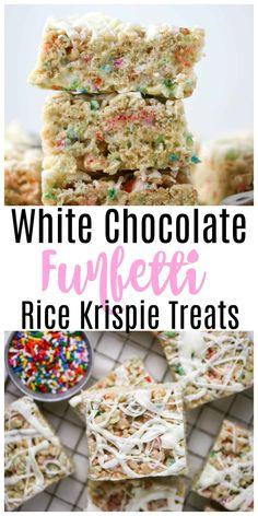 White Chocolate Funfetti Rice Krispie Treats - Boston Girl Bakes Rice Krispy Treats Recipe, No Bake Treats, Rice Krispie Treats, Rice Krispies, Yummy Treats, Sweet Treats, Best Dessert Recipes, Fun Desserts, Delicious Desserts