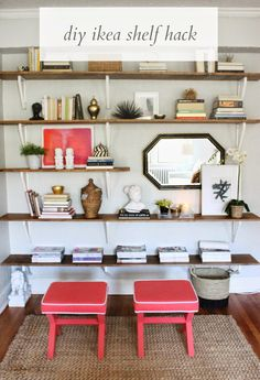 How To: DIY Ikea Hacked Shelving Unit (Shannon Claire) : Hi friends! I hope you all had a wonderful and long holiday weekend. My parents came to visit us. Ikea Shelf Hack, Ikea Wall Shelves, Diy Shelving, Open Shelving, Shelf Desk, Shelf Wall, Storage Shelves, Repurposed Furniture, Diy Furniture