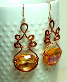 Copper Hand Crafted Dangle Earrings.  by SpecialtyBoutique on Etsy, $28.00