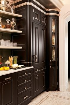 all of this beautiful woodwork, hardware and molding is actually the new GE Monogram Refrigerator Home Decor Kitchen, Kitchen Interior, Home Kitchens, Kitchen Design, Kitchen Nook, Elegant Kitchens, Beautiful Kitchens, Sweet Home, Kitchen Pictures