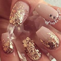 Best Wedding Nails Ideas Art For Your Summer Weddings - Nail Art Connect New Year's Nails, Get Nails, Prom Nails, Fancy Nails, Love Nails, How To Do Nails, Hair And Nails, Nails 2016, Bling Nails