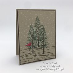 Click through to stampcandy.net for details! Stampin' Up, Thoughtful Branches, Beautiful Branches, Christmas Pines, Crumb Cake, Early Espresso, Whisper White, Emerald Envy, Real Red, Craft Ink, Heat Tool