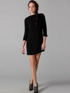 A-line Bateau   3/4-Length Short / Mini  ChiffonLittle Black Dress
