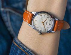 Orange silver shades tomboy watch  boyfriend watch mint by 4Rooms