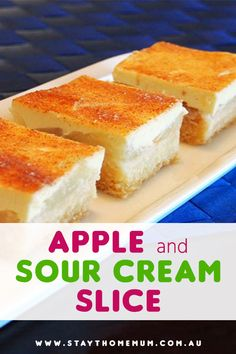 This Apple and Sour Cream Slice is one heavenly dessert. Sweet, tangy melt-in-your-mouth deliciousness. We love how well apple and sour cream go together. The two layers just complement each other so well! Fudge Recipes, Apple Recipes, Sweet Recipes, Baking Recipes, Cake Recipes, Dessert Recipes, Baking Tins, Apple Sour Cream Slice, Banana Sour Cream Cake