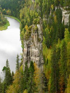 Место - Урал, Пермский край, Усьвенские (Усьвинские) Столбы. Посёлок, вблизи которого расположены Столбы, называется Усьва, и река - тоже.