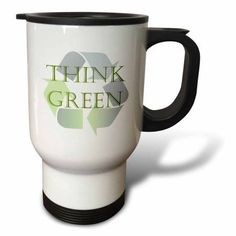 3dRose Think Green Recycle- Environment- Ecology, Travel Mug, 14oz, Stainless Steel