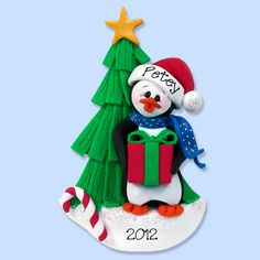 Petey Penguin Handmade Polymer Clay Personalized Christmas Ornament
