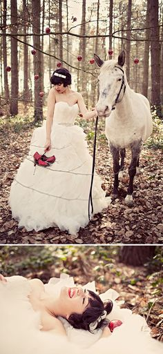 Gorgeous pictures with a beautiful horse. Beau Headband too! #wedding #animals