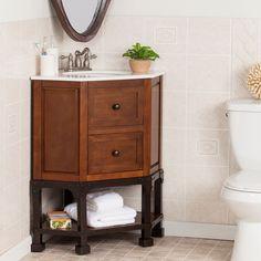 Harper Blvd Carmen Marble Top Corner Bath Vanity Sink (OS1787TB), Brown,  Size
