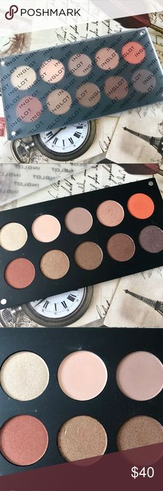 Inglot Freedom Palette 10 warm neutral eyeshadow palette from Inglot. Unknown shadow numbers. Shadows are unused but most have been swatched, there's a few small dents from the depotting process. Great quality shadows. INGLOT Makeup Eyeshadow