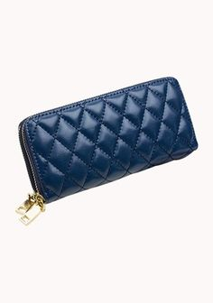 Jenna Quilted Wallet Leather Blue