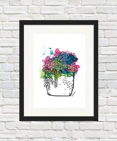 Succulent Pot Colour Print by BronwynHoustonArt on Etsy Succulent Pot Colour Print by BronwynHouston Succulent Wall Art, Succulent Pots, Succulents, Poster Prints, Art Prints, Posters, Sign Printing, Cafe Design, Color Splash