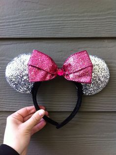 Silver and Pink Minnie Mouse Ears