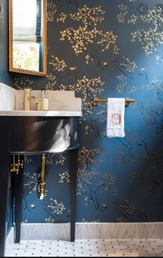 Dark blue wallpaper in guest powder bath, installation by Paper Moon Painting, Alamo Heights Powder Room Wallpaper, Dining Room Wallpaper, Bathroom Wallpaper, Blue Powder Rooms, Powder Room Decor, Powder Room Paint, Modern Powder Rooms, Powder Room Design, Blue And Gold Wallpaper