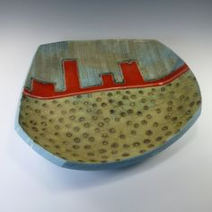 series of handmade pottery slab platters